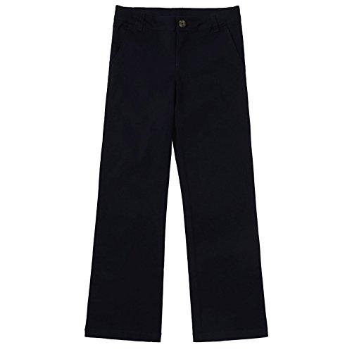 Bienzoe Girl's School Uniforms Cotton Stretchy Twill Adjust Waist Flat Front Pants Black Size 12