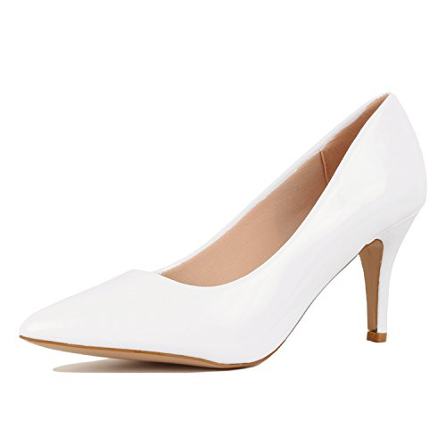 - Guilty Shoes Womens - Embellished Classic Elegant - Closed Pointy Toe Low Kitten Heel - Dress Heeled Sandal Pump (7 M, 16-White1-Patent)