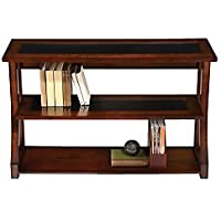 Realspace(R) Coastal Ridge 3-Shelf Bookcase, Mahogany/Black Glass