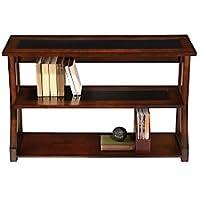 Realspace(R) Coastal Ridge 3-Shelf Bookcase, Mahogany/Black Glass