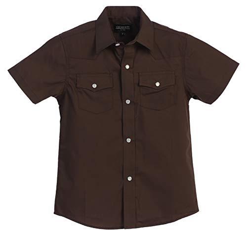 Gioberti Boys Solid Short Sleeve Western Shirt, Brown Size 5 (5 Size Western Boys Shirts)