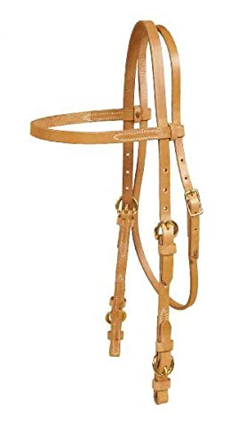TORY LEATHER Single Ply Browband Headstall - Buckle Bit Ends - Harness Leather ()