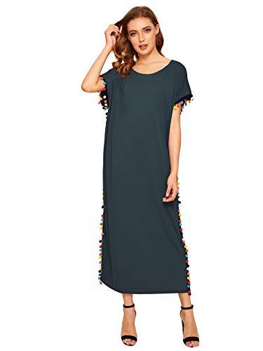 Floerns Women's Pom Pom Trim O Neck Casual Loose Maxi Kaftan Dress Green M
