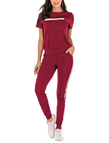 Salimdy Women Tracksuit Set Hoodies Sweatshirt Pant Sets 2 Piece Outfits Stripe Pullover Long Pants Jumpsuit