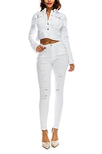 American Bazi G-Style USA Women's Stretch Ripped Denim Twill Jean Jacket RJK884 - White - Large - EE8E ()