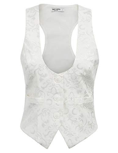 (Women's Racerback Vest Three Button Tuxedo Suit Waistcoat(XL,Ivory))