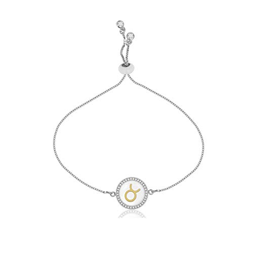 (CILILI Horoscope Zodiac 12 Astrology Constellations Shell Rhinestones Disc Charm Snake Chain Bracelet Anklet for Girls Women (Taurus-Large(Silver)) )