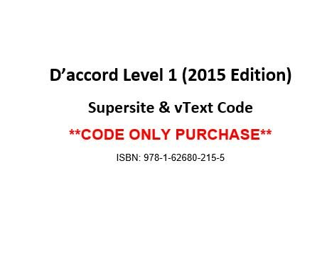 Read Online D'accord 1, 2015 Ed, Supersite and vText Code - CODE ONLY pdf