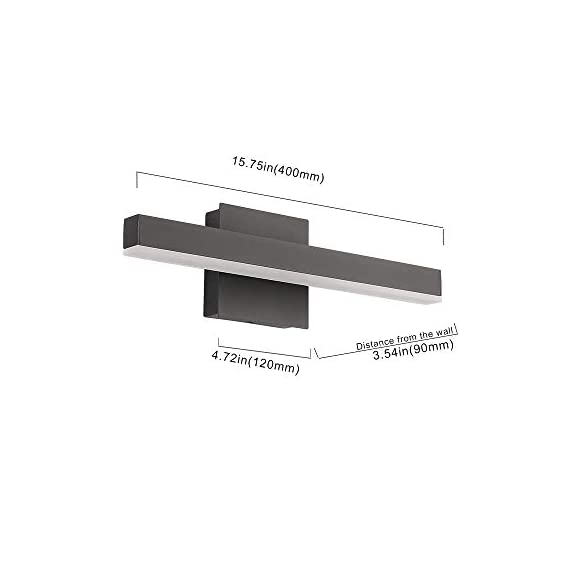 """Joossnwell LED Bathroom Vanity Lighting Fixture Morden Bath Light Bar 15.75inch Black Wall Sconce 9W 4000K - * [NEW DESIGN] Modern bathroom led vanity light fixture, perfect auxiliary lighting for bathroom and bedroom. * [SPECIFICATIONS] Length :15.57"""" for 9W, distance from the wall:3.54"""". Color temperature:4000K, Non-dimmable. * [ADVANTAGE] No dazzling , no glare,easy to install. No Switch or Cord on the light fixture, just connect to the reserved wire directly, square base 4.72"""" suitable for US Junction box standard. - bathroom-lights, bathroom-fixtures-hardware, bathroom - 31smbnCn5xL. SS570  -"""