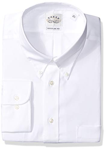 Eagle Men's Non Iron Regular Fit Solid Button Down Collar Dress Shirt, White, 17.5