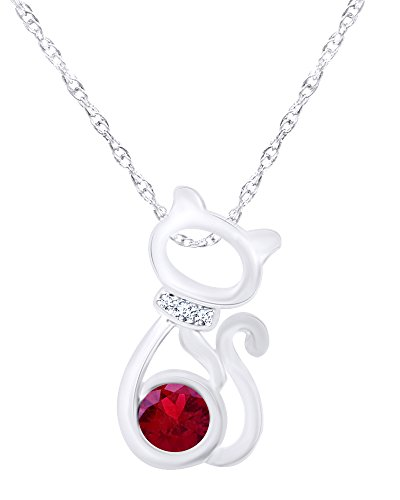 Wishrocks 14K White Gold Over Sterling Silver CAT Pendant Necklace