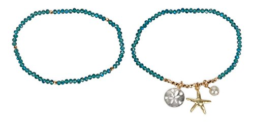 - SPUNKYsoul Anklets Starfish Sand Dollar for Women Collection (Blue Faceted)
