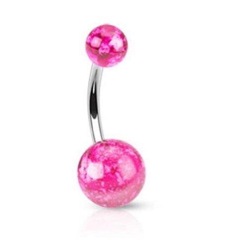 """Coolbodyart Unisex Bauchnabelpiercing """"Splatter"""" 2 Farben UV Ball pink [Bijoux]"""