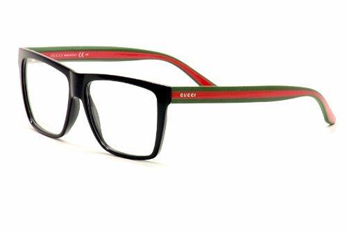 dad0bb1a59 Amazon.com  Gucci GG1008 Eyeglasses 55-14-150 Shiny Black Red Green 051N   Clothing