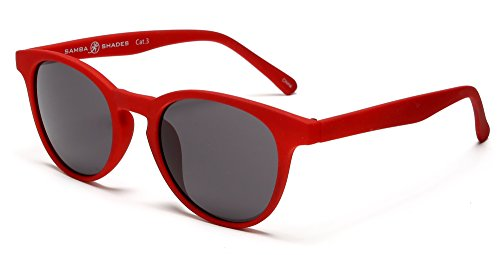 Samba Shades Miami Classic Round Wayfarer Sunglasses with Rubber Red Frame, Grey - Red Wayfarers