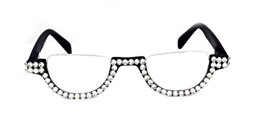 (The Half Moon, Crystal Bling Reading Glasses Women Adorned with Clear Swarovski Crystals +1.25, 1.50, 1.75, 2.00, 2.25, 2.50, 2.75, 3.00, 3.50, 4.00 Black)