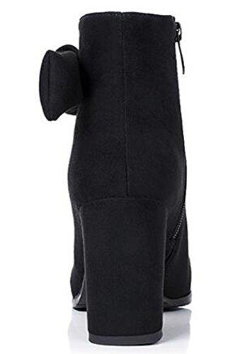 Idifu Femmes Élégantes Arcs Hauts Chunky Talons Faux Suède Bout Pointu Côté Zip Up Bottines Noir