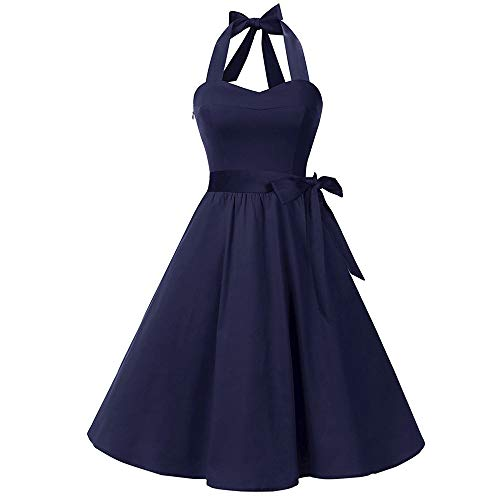 New Women's Dress, VECDUO Sleeveless Solid Lace Hepburn Vintage Swing High-Waist Pleated Dresses Navy
