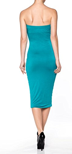 Dress Made Basic Cotton in Teal Sense A Fitted Tube Midi Womens Comfy USA Apparel S Span 4ngWn7