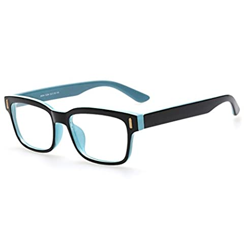 Rnow Premium Unisex Retro Square Frame Eyeglasses Fashion Optical Eyewears - Eyeglasses Light Blue Frame