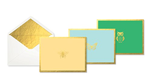 (C.R. Gibson Gold  Bee, Butterfly and Owl Thank You Cards With Envelopes for all Occasions, 12 pc, 5'' W x 3.75'' H)