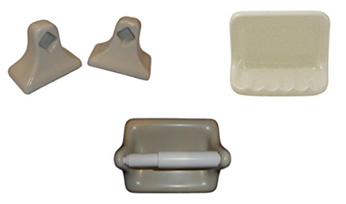 Royal Building Supplies 4 Piece Bone Ceramic Bathroom Fixtures Incl. Towel Bard Ends, Toilet Paper Holder and Soap Dish
