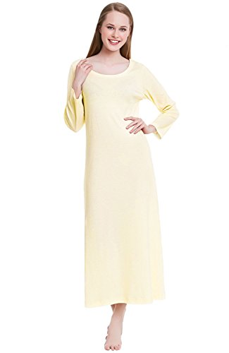 Alexander Del Rossa Womens Cotton Knit Nightgown, Long Scoop Neck Sleep Dress