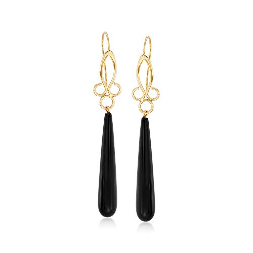Ross-Simons Long Teardrop Black Onyx Drop Earrings in 14kt Yellow Gold
