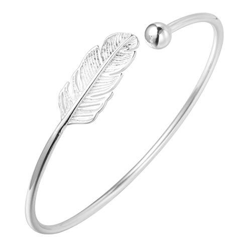 AILUOR 925 Silver Leaf Feather Bangle Bracelet Bohemian Style Fashion Charms Bracelets Jewelry Cuff Women Adjustable (Silver) -