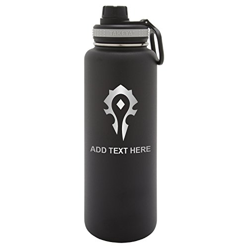 Army Force Gear Personalized Engraved Takeya World of Warcraft Horde Thermo Flask Water Bottle Stainless Steel Sports Tumbler, 32 Oz, Black