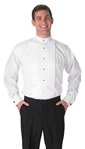 Elaine Karen Premium Men's Tuxedo Long Sleeve Shirt Banded Collar – 2XL 34/35