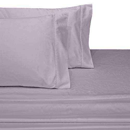 Exquisitely Lavish Sateen Solid Weave Bedding by Pure Linens, 300 Thread Count 100-Percent Plush Cotton, 4 Piece Queen Size Deep Pocket Hemmed Sheet Set, Lilac
