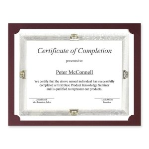 St. James Presentation Cards/Certificate Holders, Non-Folding, Linen, Burgundy, Pack of (Non Folding)