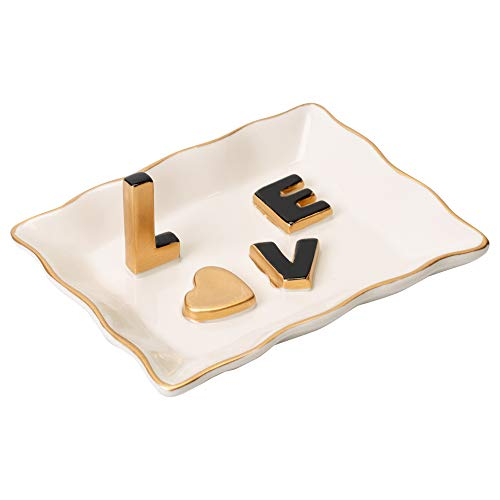 Love Gold Tone and White Porcelain Ring Dish Jewelry - Ring Tone Gold Accent