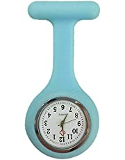 Silicone Nurse Watch Brooch Tunic Fob Nursing Nurses Pendant Clip Pocket Battery(Light Blue)