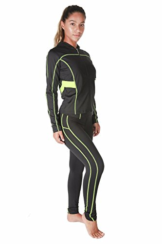 VERSCOS Women's Stretch 3 Pieces Compression Sets Jacket Tank Top Pant Leggings 5109 Medium Lime (3 Piece Set Sweater Shirt)