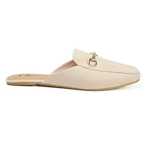 FFC NEW YORK Sandie Nude Microsuede Slip On Mule Flat Sandal Size 10