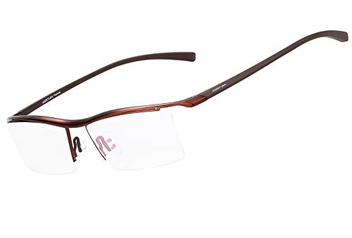 (Agstum Pure Titanium Half Rimless Business Glasses Frame Optical Eyeglasses Clear Lens (Coffee))