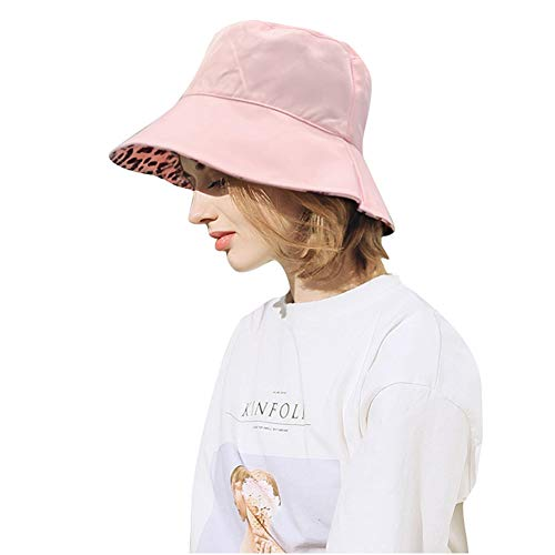 DOCILA Summer Fisherman Bucket Hats Leopard Print Packable Travel Sun Hat for Young Ladies (Pink)