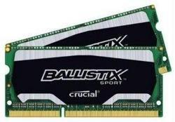 - 3636306 16GB KIT (8GBX2) DDR3 1600 MT/S (PC3-12800) CL9 @1.35V BALLISTIX SPORT SODIMM 20