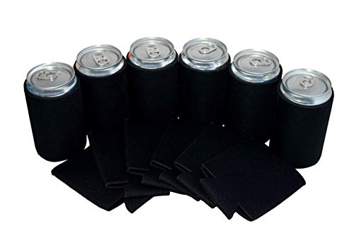 QualityPerfection - 7.5 oz Mini Neoprene Can Cooler Sleeves - Soda Small Can Sleeves - Great For Coca Cola,Pepsi,Dr Pepper,Soda Mini Cans ((Black, 12)
