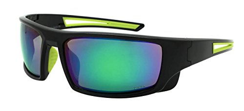 Edge I-Wear Sports Safety Sunglasses ANSI Z87+ Color Mirror Lens 570100/REV-2(BLK.gn)