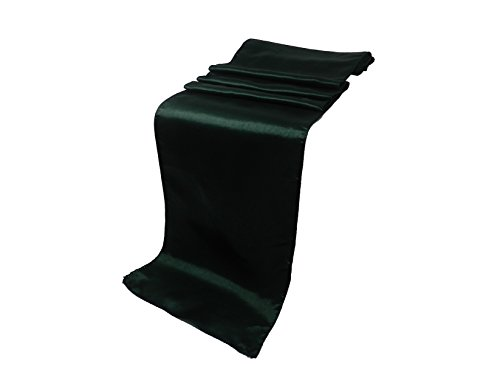 (ELINA'S Pack of 15 Wedding 12 x 108 inch Satin Table Runner Wedding Banquet Decoration (15, Hunter Green) )