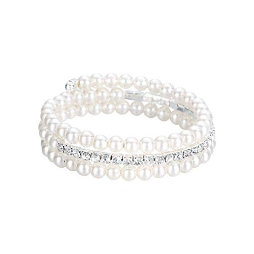 XBKPLO Women Bracelet Pearl Bead String Diamond Cuff Accessories Silver Jewelry Anniversary Valentine's Day Present]()