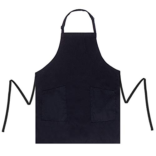Adjustable Two Pocket Apron - BOHARERS 2 Pack Adjustable Bib Apron with 2 Pockets Water Resistant Durable Comfortable Easy Care Cooking Kitchen Aprons for Women Men Chef Black