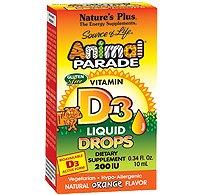 Nature's Plus - Source Of Life Animal Parade Vitamin D3 Liquid Drops Natural Orange Flavor 200 IU - 0.34 oz. (Animal Parade Orange Flavor)