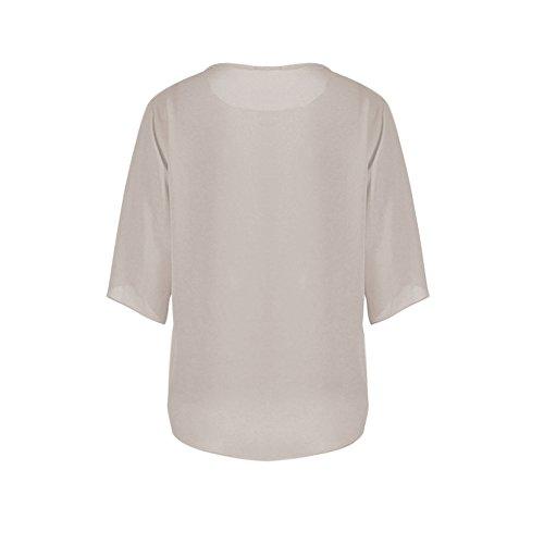 Tunique Hauts Manche Col Chemisier Casual de Simple Mousseline Blouse Courte Femmes Uni Rond Shirt Chemise Soie Gris LAEMILIA qS6YxRwZq