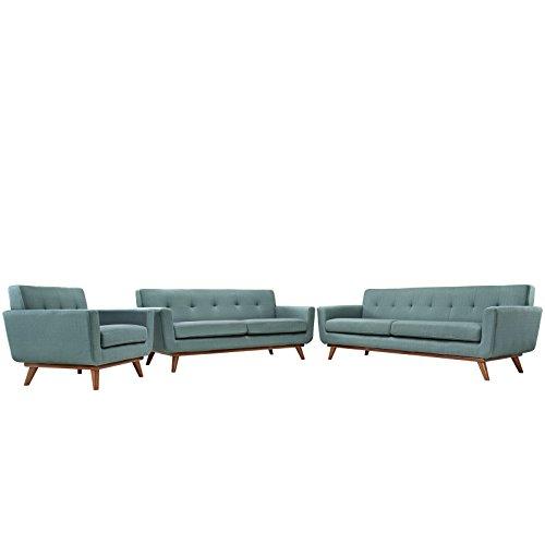 LexMod Engage Sofa Loveseat and Armchair, Laguna, Set of 3