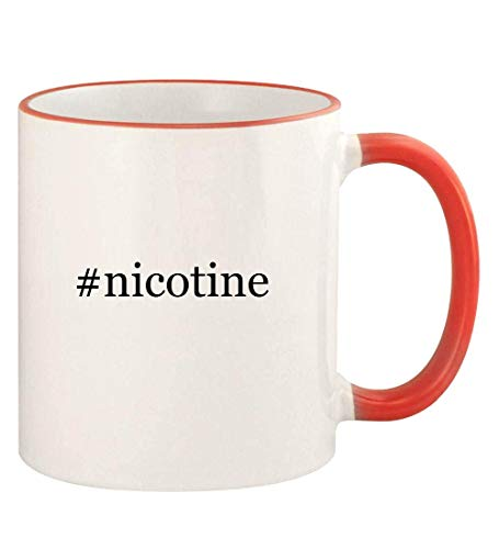 #nicotine - 11oz Hashtag Colored Rim and Handle Coffee Mug, Red