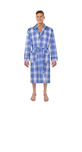 Bill Baileys Men's Long Sleeve Premium Cotton Blend Woven Robe Lightweight Sleep & Morning Robe (Small/Medium, Teal Blue Plaid)